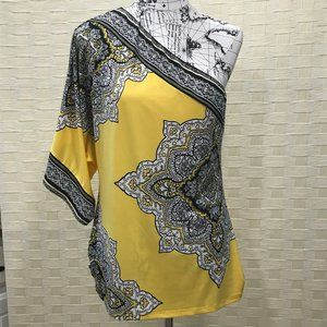 CACH'E Yellow & Black One Shoulder Tunic Top